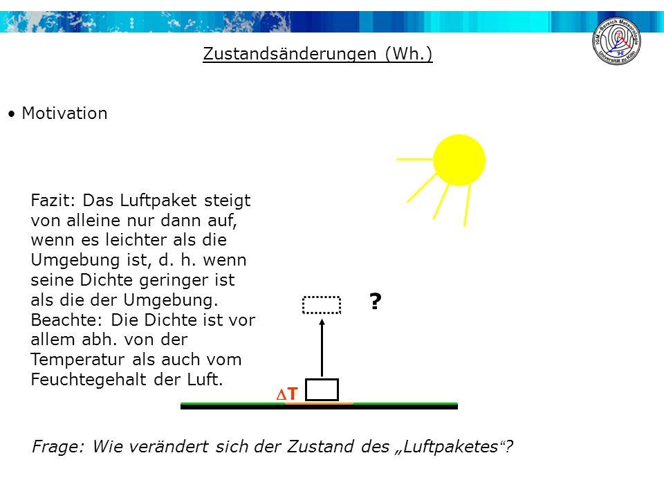 Zustandsänderungen (Wh.) Motivation T ? Frage: Wie verändert sich der Zustand des Luftpaketes ? Fazit: Das Luftpaket steigt von alleine nur dann auf,