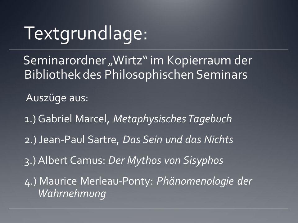 Textgrundlage: Seminarordner Wirtz im Kopierraum der Bibliothek des Philosophischen Seminars Auszüge aus: 1.) Gabriel Marcel, Metaphysisches Tagebuch