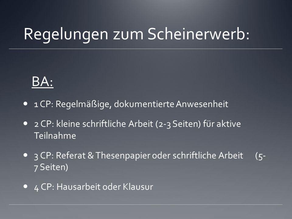 Regelungen zum Scheinerwerb: BA: 1 CP: Regelmäßige, dokumentierte Anwesenheit 2 CP: kleine schriftliche Arbeit (2-3 Seiten) für aktive Teilnahme 3 C