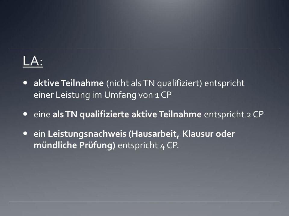 LA: aktive Teilnahme (nicht als TN qualifiziert) entspricht einer Leistung im Umfang von 1 CP eine als TN qualifizierte aktive Teilnahme entspricht 2