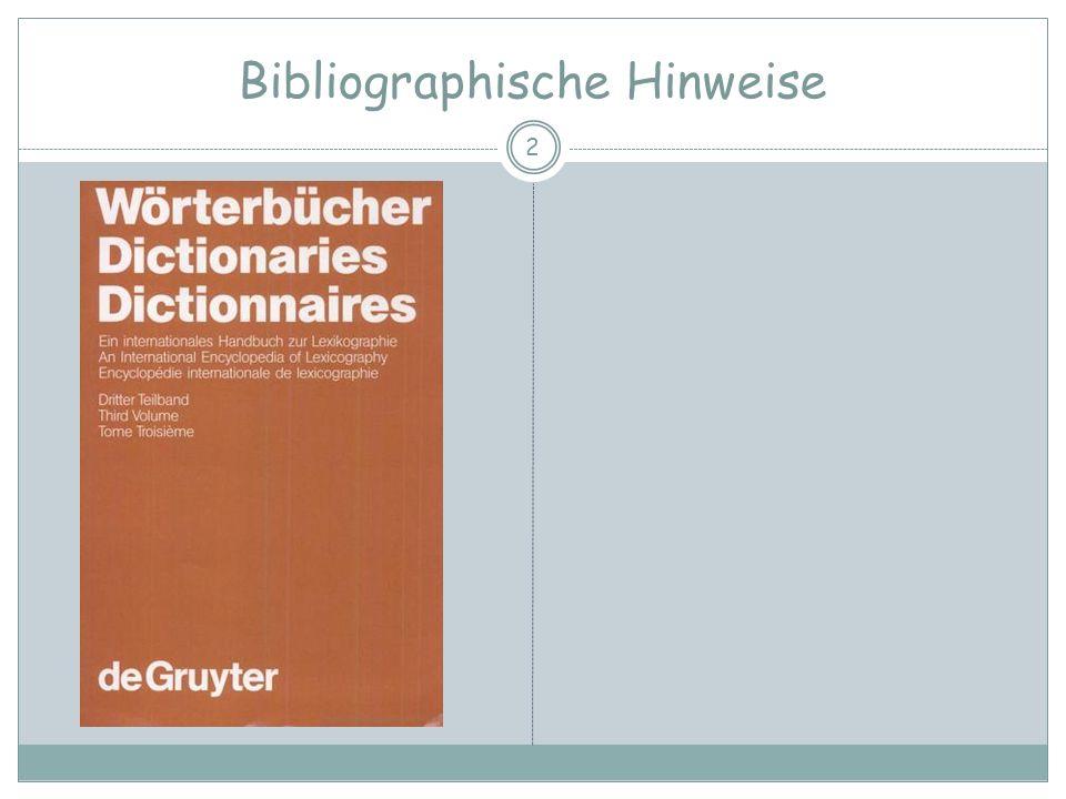 Die Lexikographie als Gegenstand der Linguistik Merkmale der Artikeltexte Regelhafter Wechsel typographischer Formate zur Kennzeichnung bestimmter Informationsebenen z.B.