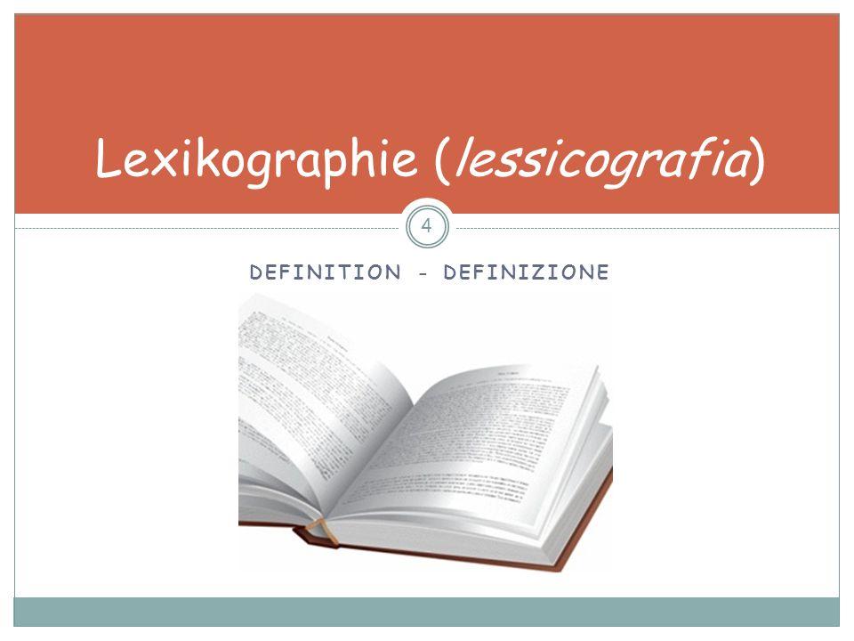 Die Lexikographie als Gegenstand der Linguistik 65 DefinitionstypDefinitionsmerkmale Morpho-semantische Definition Zur Erklärung eines Wortbildungsproduktes wird das syntagma-interne Bedeutungsverhältnis der beiden unmittelbaren Konstituenten paraphrasiert Funktionsdefinition Als Erklärung werden grammatische, semantische oder pragmatische Funktionen genannt.