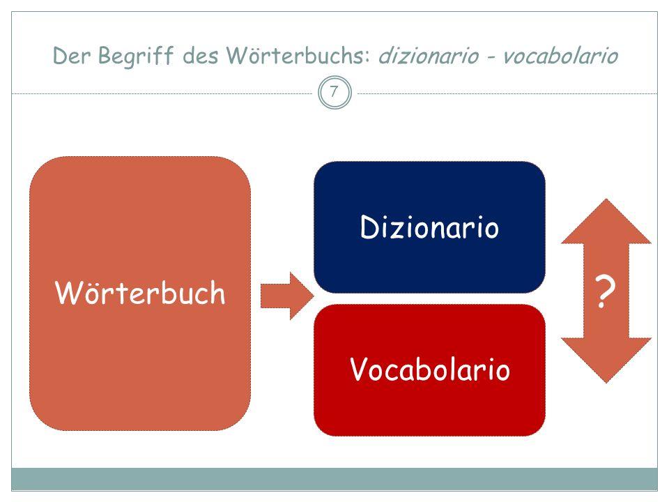 Dittionario Vocabolario Der Begriff des Wörterbuchs: dizionario - vocabolario 8