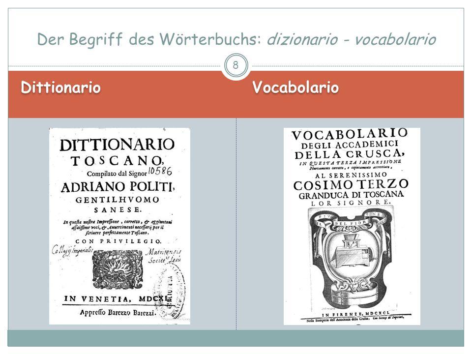Dittionario Vocabolario Der Begriff des Wörterbuchs: dizionario - vocabolario 9