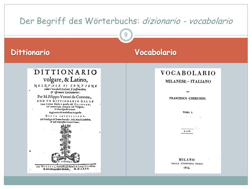 Dittionario Vocabulario Der Begriff des Wörterbuchs: dizionario - vocabolario 10