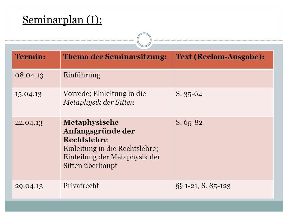 Seminarplan (I): Termin:Thema der Seminarsitzung:Text (Reclam-Ausgabe): 08.04.13Einführung 15.04.13Vorrede; Einleitung in die Metaphysik der Sitten S.
