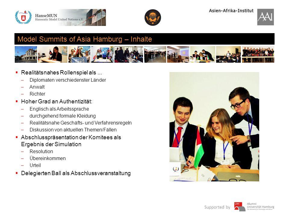 Supported by Model Summits of Asia Hamburg – Inhalte Realitätsnahes Rollenspiel als... –Diplomaten verschiedenster Länder –Anwalt –Richter Hoher Grad