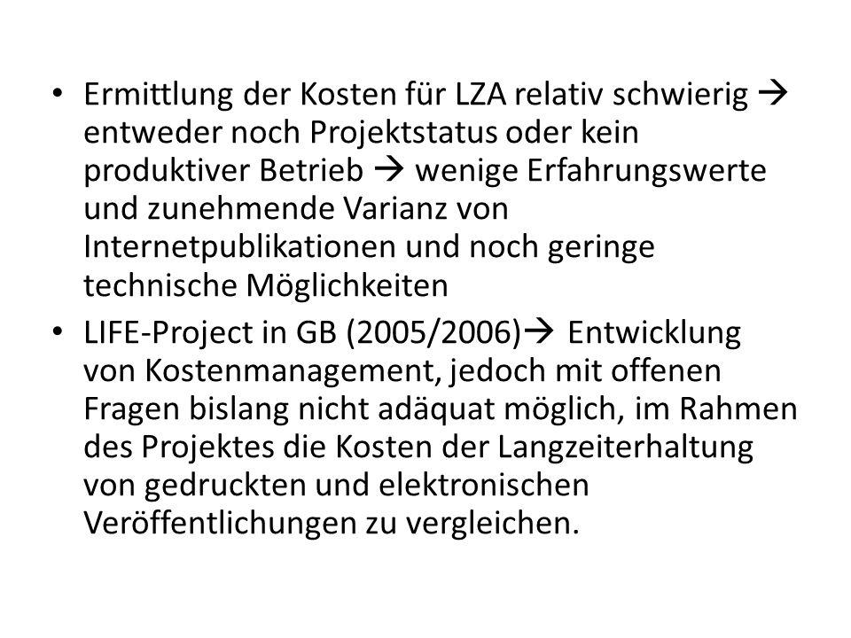 Kapitel 18 - Beispiele LZA durch Deutsche Nationalbibliothek: Sammlung von Digitalen und gedruckten Werken Persönlichkeiten des öffentlichen Lebens Präferenzregelung bei der Datenspeicherung Automatische anreicherung von Metadaten Jhove (JSTOR Harard Universoty Library (HUL))
