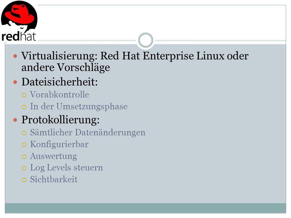 Virtualisierung: Red Hat Enterprise Linux oder andere Vorschläge Dateisicherheit: Vorabkontrolle In der Umsetzungsphase Protokollierung: Sämtlicher Da