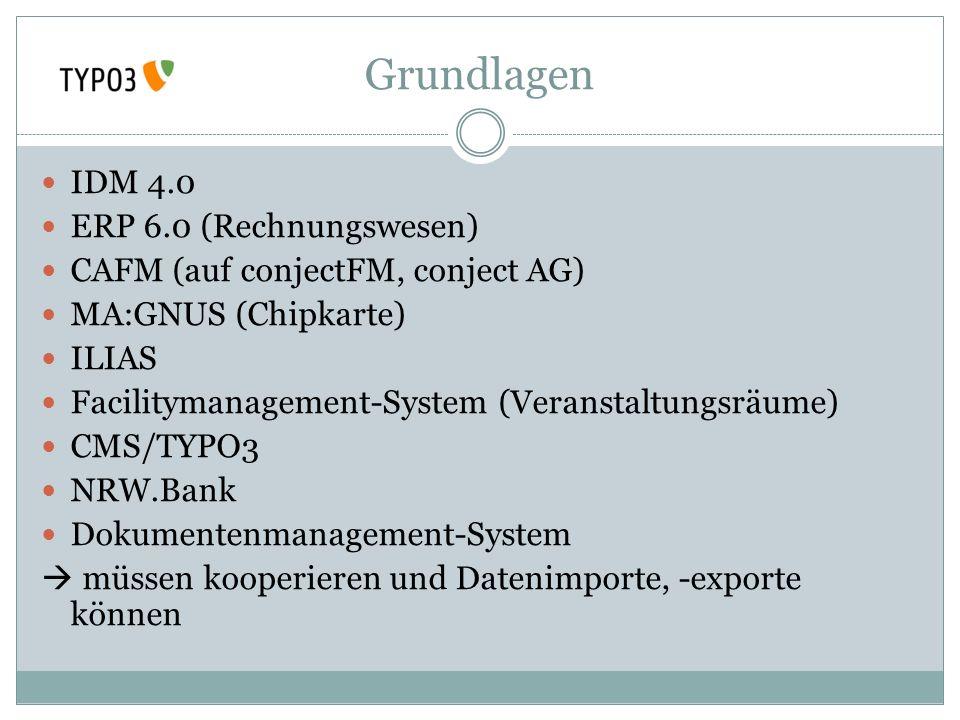 Grundlagen IDM 4.0 ERP 6.0 (Rechnungswesen) CAFM (auf conjectFM, conject AG) MA:GNUS (Chipkarte) ILIAS Facilitymanagement-System (Veranstaltungsräume)