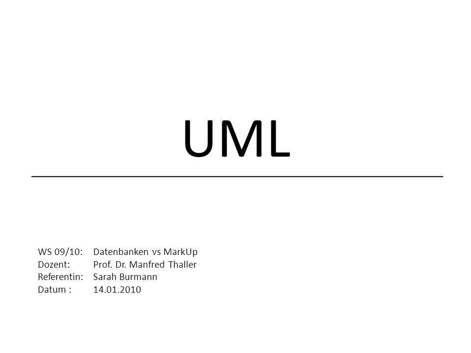 UML WS 09/10: Datenbanken vs MarkUp Dozent: Prof.Dr.