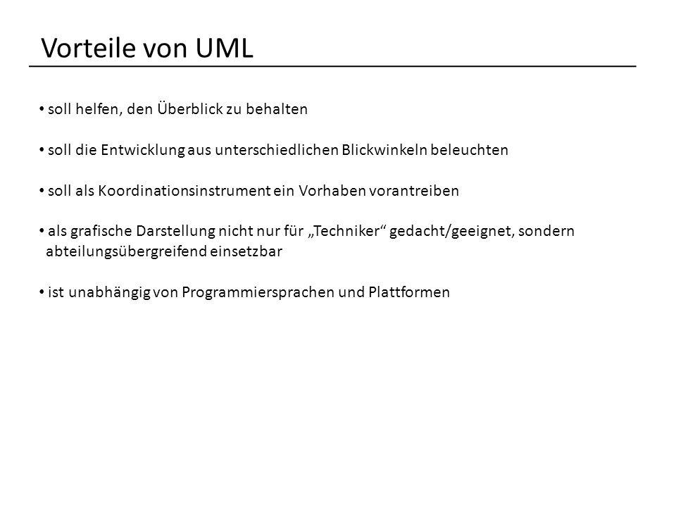 Vorteile von UML soll helfen, den Überblick zu behalten soll die Entwicklung aus unterschiedlichen Blickwinkeln beleuchten soll als Koordinationsinstrument ein Vorhaben vorantreiben als grafische Darstellung nicht nur für Techniker gedacht/geeignet, sondern abteilungsübergreifend einsetzbar ist unabhängig von Programmiersprachen und Plattformen