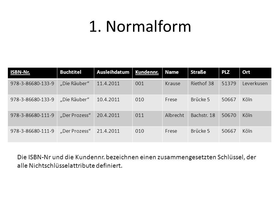 1. Normalform ISBN-Nr.BuchtitelAusleihdatumKundennr.NameStraßePLZOrt 978-3-86680-133-9Die Räuber11.4.2011001KrauseRiethof 3851379Leverkusen 978-3-8668