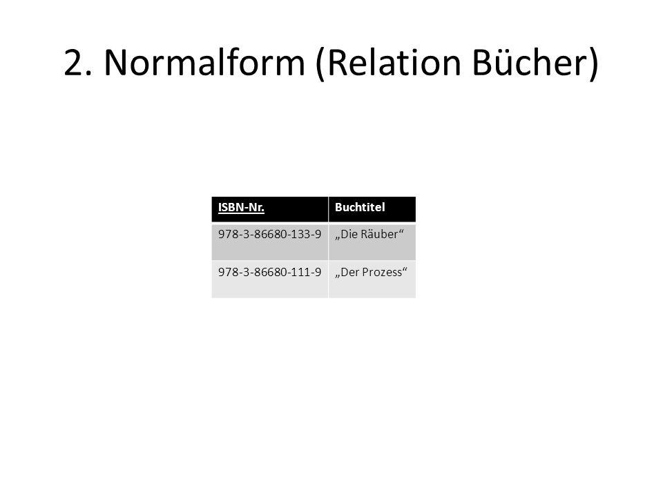2. Normalform (Relation Bücher) ISBN-Nr.Buchtitel 978-3-86680-133-9Die Räuber 978-3-86680-111-9Der Prozess