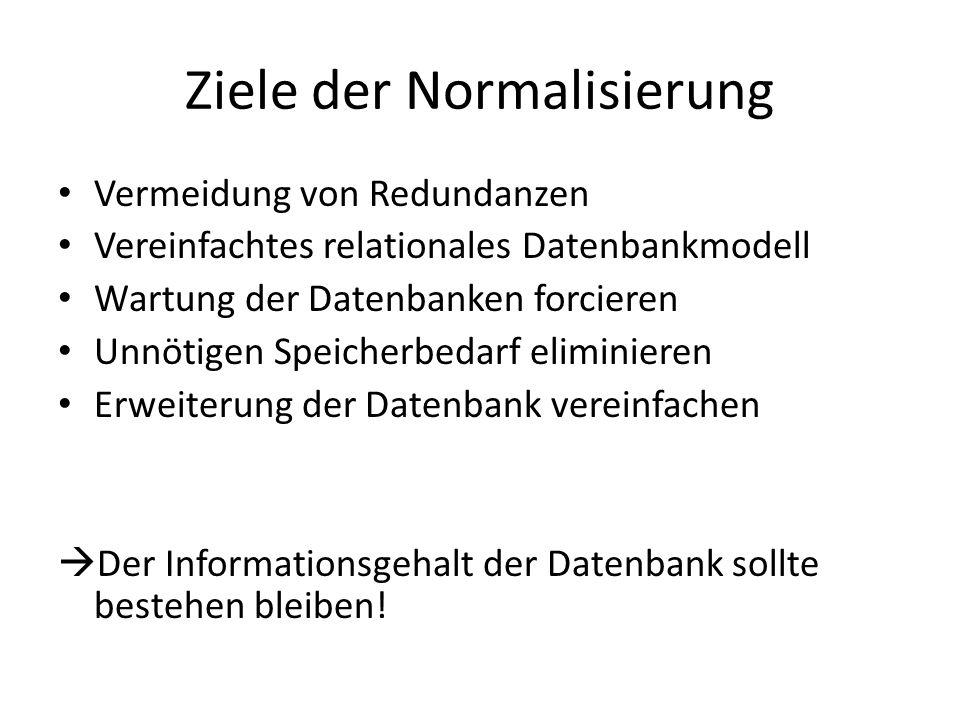 Ziele der Normalisierung Vermeidung von Redundanzen Vereinfachtes relationales Datenbankmodell Wartung der Datenbanken forcieren Unnötigen Speicherbed