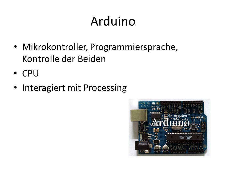 Arduino Mikrokontroller, Programmiersprache, Kontrolle der Beiden CPU Interagiert mit Processing