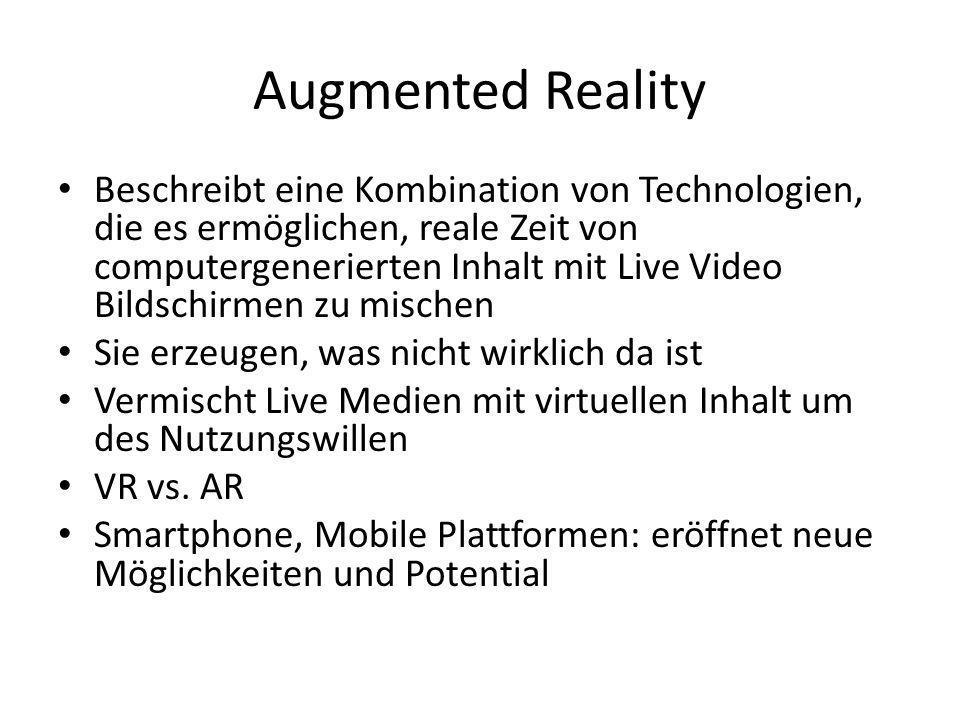 Augmented Reality Beschreibt eine Kombination von Technologien, die es ermöglichen, reale Zeit von computergenerierten Inhalt mit Live Video Bildschirmen zu mischen Sie erzeugen, was nicht wirklich da ist Vermischt Live Medien mit virtuellen Inhalt um des Nutzungswillen VR vs.