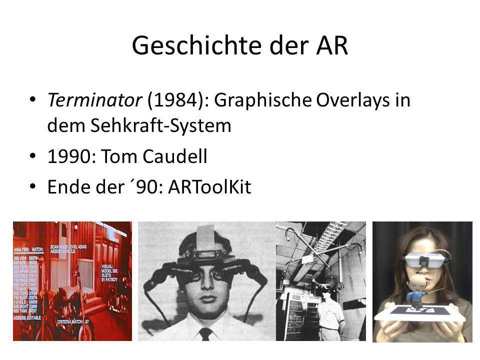 Geschichte der AR Terminator (1984): Graphische Overlays in dem Sehkraft-System 1990: Tom Caudell Ende der ´90: ARToolKit