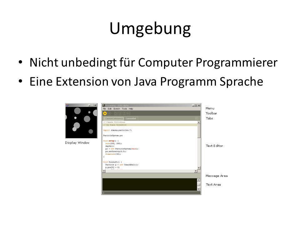 Umgebung Nicht unbedingt für Computer Programmierer Eine Extension von Java Programm Sprache