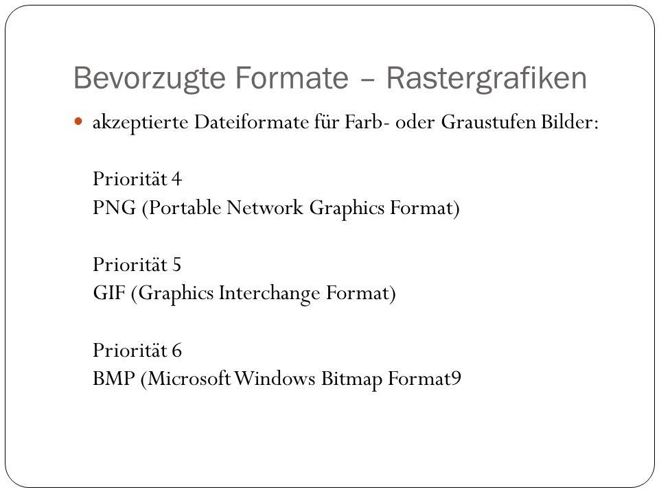 Bevorzugte Formate – Rastergrafiken akzeptierte Dateiformate für Farb- oder Graustufen Bilder: Priorität 4 PNG (Portable Network Graphics Format) Priorität 5 GIF (Graphics Interchange Format) Priorität 6 BMP (Microsoft Windows Bitmap Format9