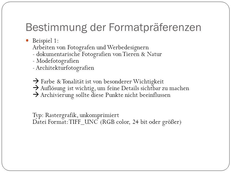 Bestimmung der Formatpräferenzen Beispiel 1: Arbeiten von Fotografen und Werbedesignern - dokumentarische Fotografien von Tieren & Natur - Modefotografien - Architekturfotografien Farbe & Tonalität ist von besonderer Wichtigkeit Auflösung ist wichtig, um feine Details sichtbar zu machen Archivierung sollte diese Punkte nicht beeinflussen Typ: Rastergrafik, unkomprimiert Datei Format: TIFF_UNC (RGB color, 24 bit oder größer)