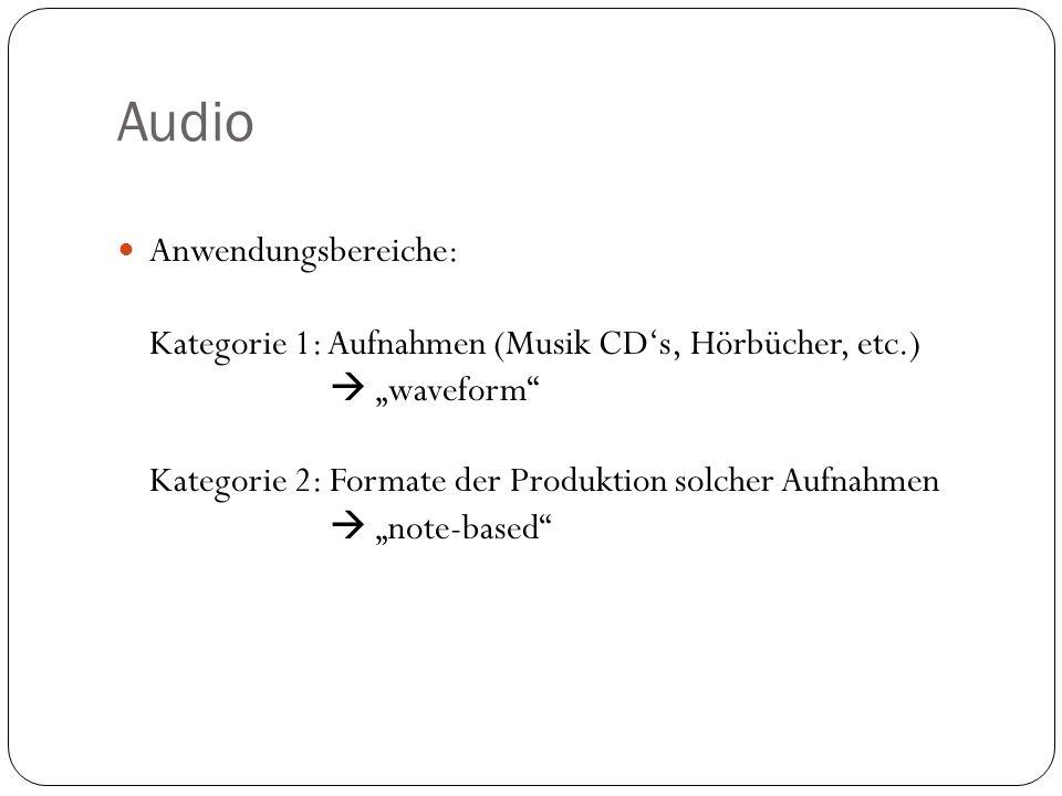 Anwendungsbereiche: Kategorie 1: Aufnahmen (Musik CDs, Hörbücher, etc.) waveform Kategorie 2: Formate der Produktion solcher Aufnahmen note-based