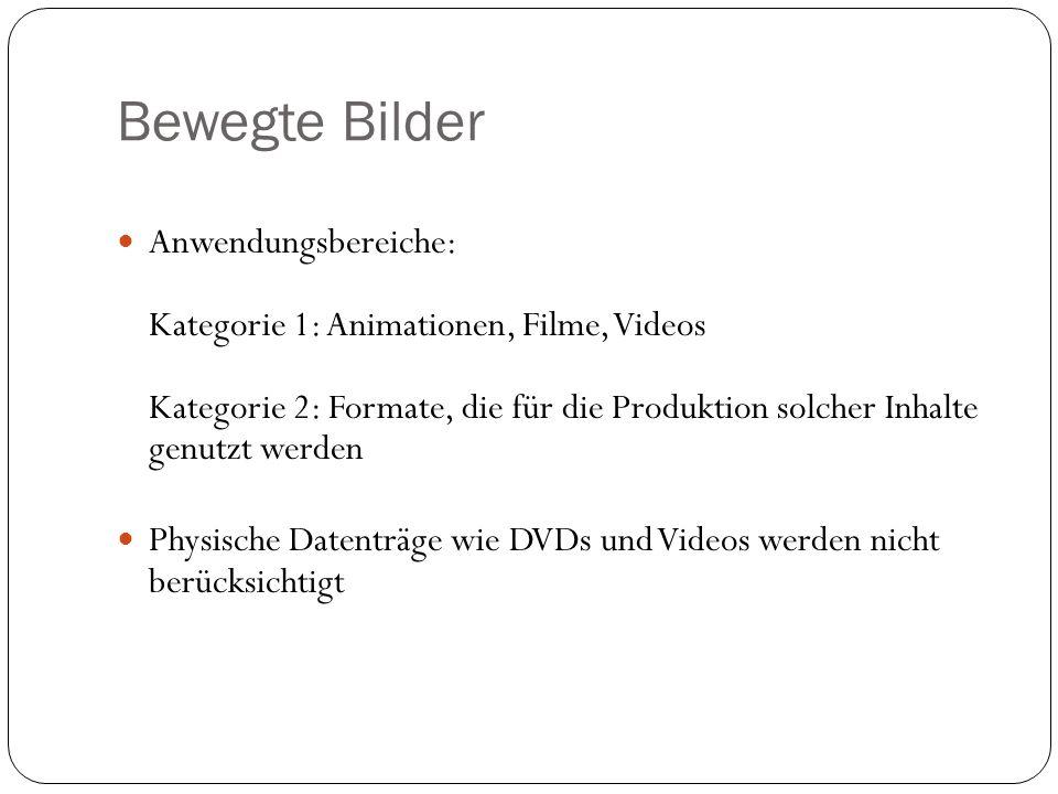 Anwendungsbereiche: Kategorie 1: Animationen, Filme, Videos Kategorie 2: Formate, die für die Produktion solcher Inhalte genutzt werden Physische Datenträge wie DVDs und Videos werden nicht berücksichtigt