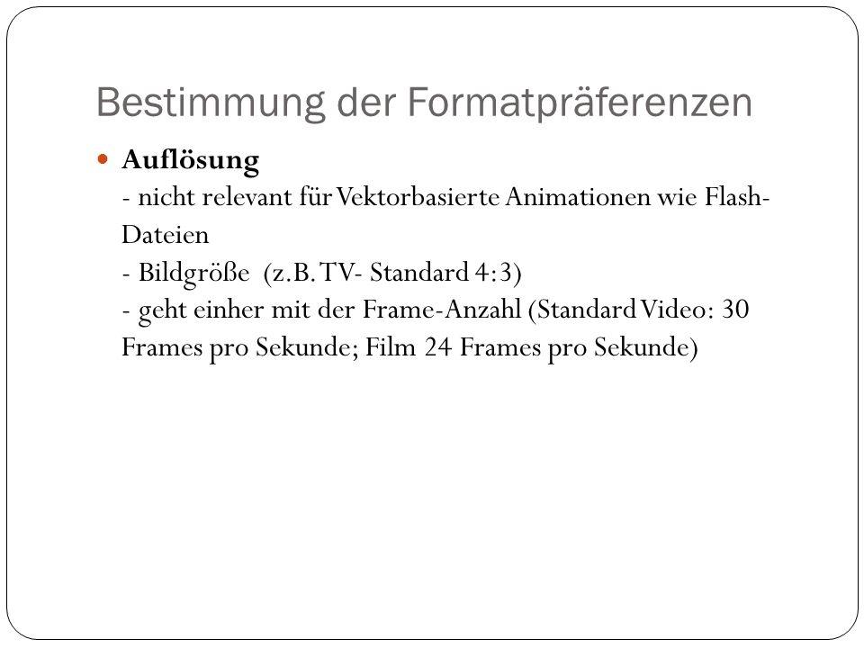 Bestimmung der Formatpräferenzen Auflösung - nicht relevant für Vektorbasierte Animationen wie Flash- Dateien - Bildgröße (z.B.