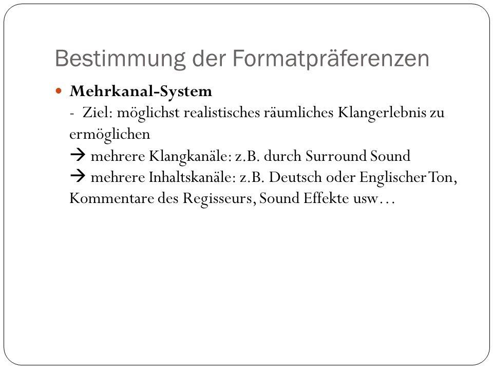 Bestimmung der Formatpräferenzen Mehrkanal-System - Ziel: möglichst realistisches räumliches Klangerlebnis zu ermöglichen mehrere Klangkanäle: z.B.