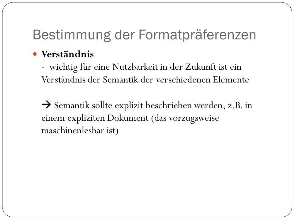Bestimmung der Formatpräferenzen Verständnis - wichtig für eine Nutzbarkeit in der Zukunft ist ein Verständnis der Semantik der verschiedenen Elemente Semantik sollte explizit beschrieben werden, z.B.