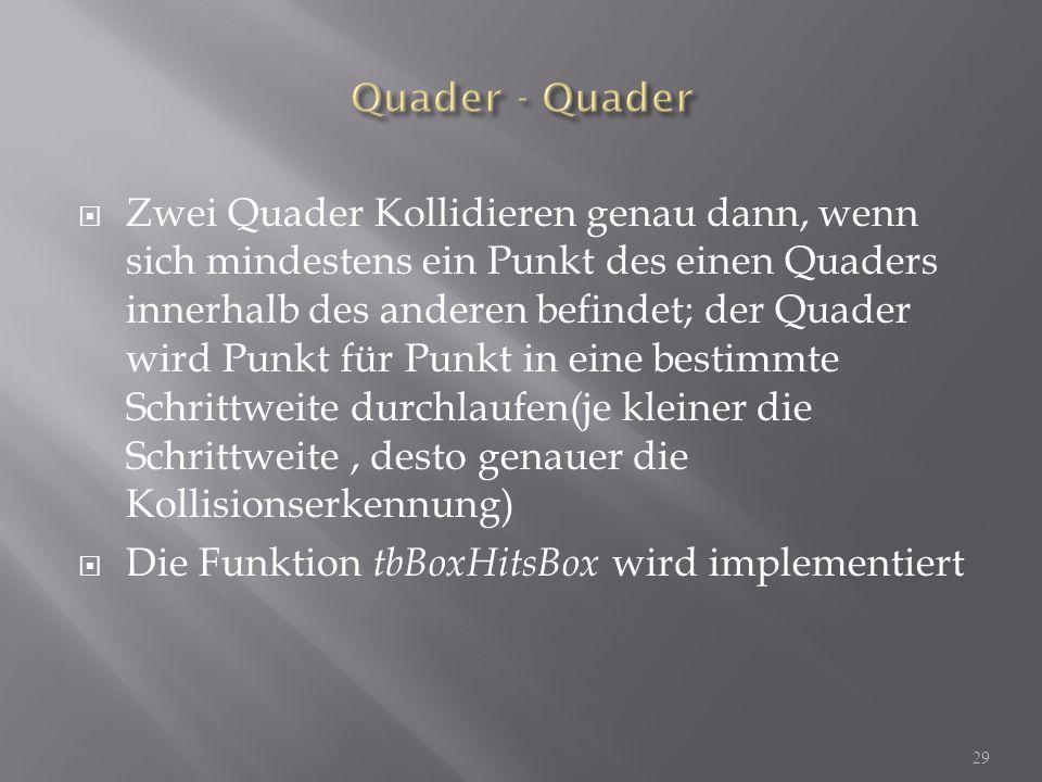 Zwei Quader Kollidieren genau dann, wenn sich mindestens ein Punkt des einen Quaders innerhalb des anderen befindet; der Quader wird Punkt für Punkt in eine bestimmte Schrittweite durchlaufen(je kleiner die Schrittweite, desto genauer die Kollisionserkennung) Die Funktion tbBoxHitsBox wird implementiert 29