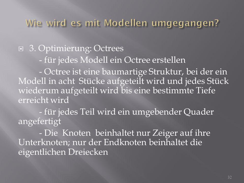 3. Optimierung: Octrees - für jedes Modell ein Octree erstellen - Octree ist eine baumartige Struktur, bei der ein Modell in acht Stücke aufgeteilt wi