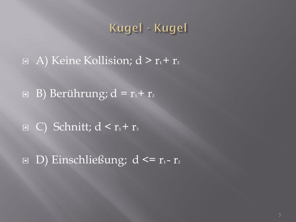 A) Keine Kollision; d > r 1 + r 2 B) Berührung; d = r 1 + r 2 C) Schnitt; d < r 1 + r 2 D) Einschließung; d <= r 1 - r 2 5