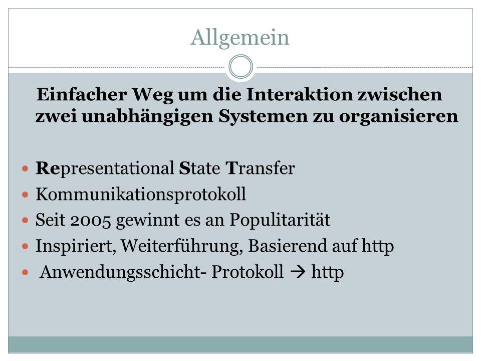 Allgemein Einfacher Weg um die Interaktion zwischen zwei unabhängigen Systemen zu organisieren Representational State Transfer Kommunikationsprotokoll Seit 2005 gewinnt es an Populitarität Inspiriert, Weiterführung, Basierend auf http Anwendungsschicht- Protokoll http