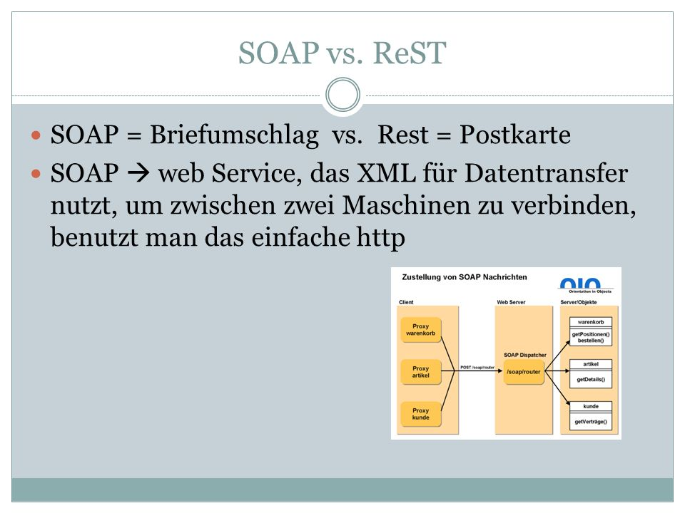 SOAP vs. ReST SOAP = Briefumschlag vs. Rest = Postkarte SOAP web Service, das XML für Datentransfer nutzt, um zwischen zwei Maschinen zu verbinden, be