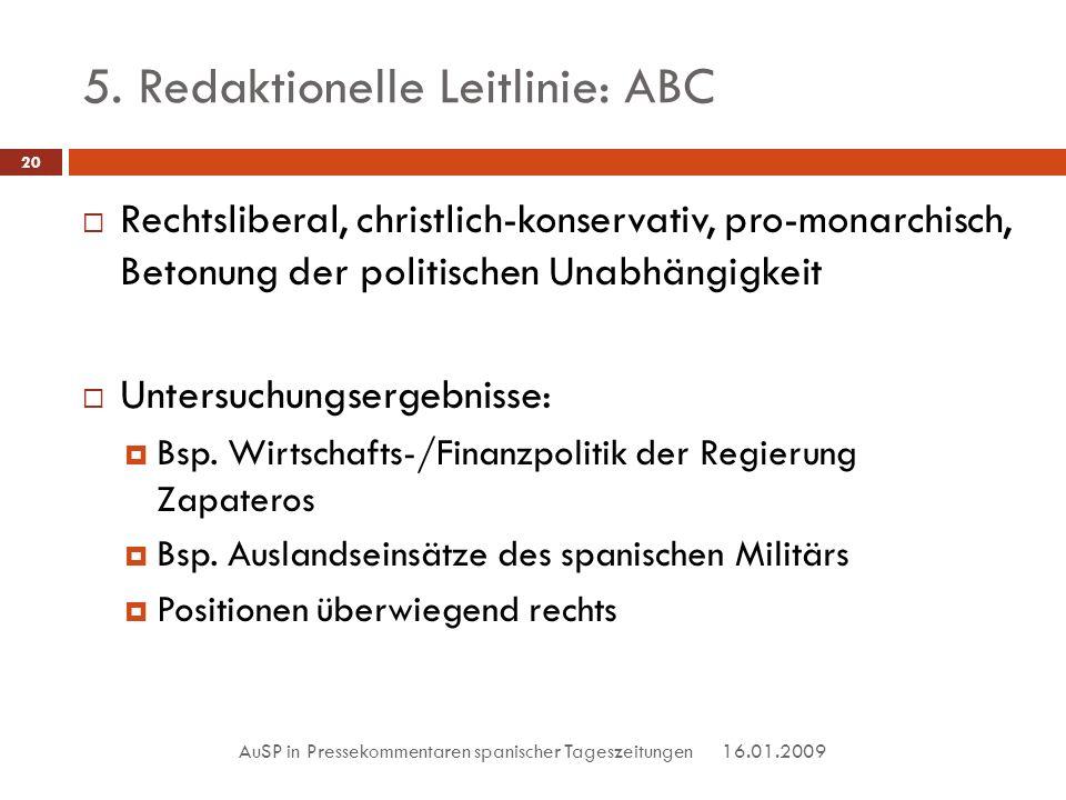 5. Redaktionelle Leitlinie: ABC 16.01.2009 AuSP in Pressekommentaren spanischer Tageszeitungen 20 Rechtsliberal, christlich-konservativ, pro-monarchis