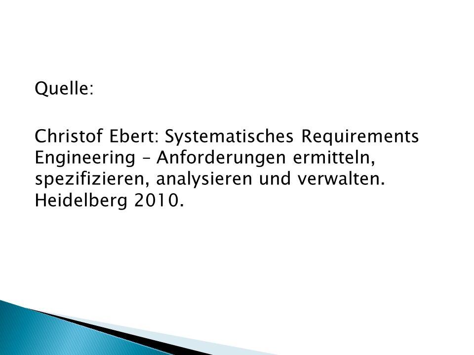 Quelle: Christof Ebert: Systematisches Requirements Engineering – Anforderungen ermitteln, spezifizieren, analysieren und verwalten. Heidelberg 2010.
