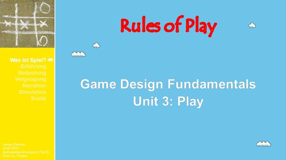 Was ist Spiel? Erfahrung Bedeutung Vergnügung Narration Simulation Sozial Jonas Zimmer 24.01.2013 Softwaretechnologie II (Teil 2) Prof. Dr. Thaller