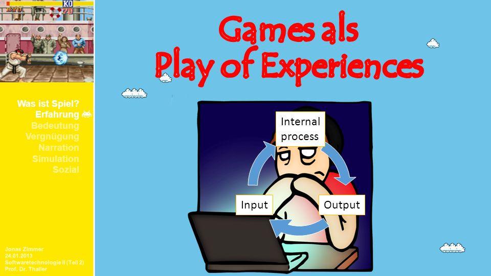 Jonas Zimmer 24.01.2013 Softwaretechnologie II (Teil 2) Prof. Dr. Thaller Was ist Spiel? Erfahrung Bedeutung Vergnügung Narration Simulation Sozial In