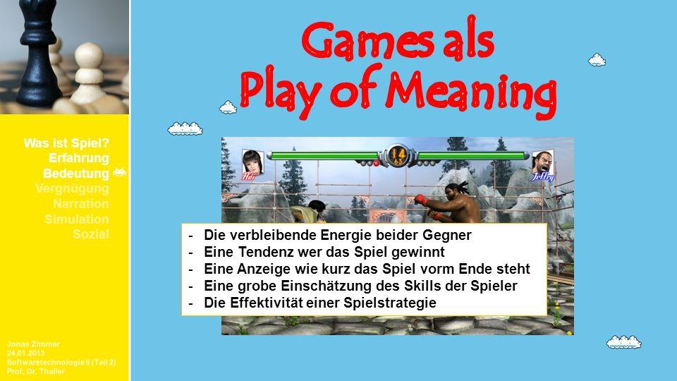 Jonas Zimmer 24.01.2013 Softwaretechnologie II (Teil 2) Prof. Dr. Thaller Was ist Spiel? Erfahrung Bedeutung Vergnügung Narration Simulation Sozial -D