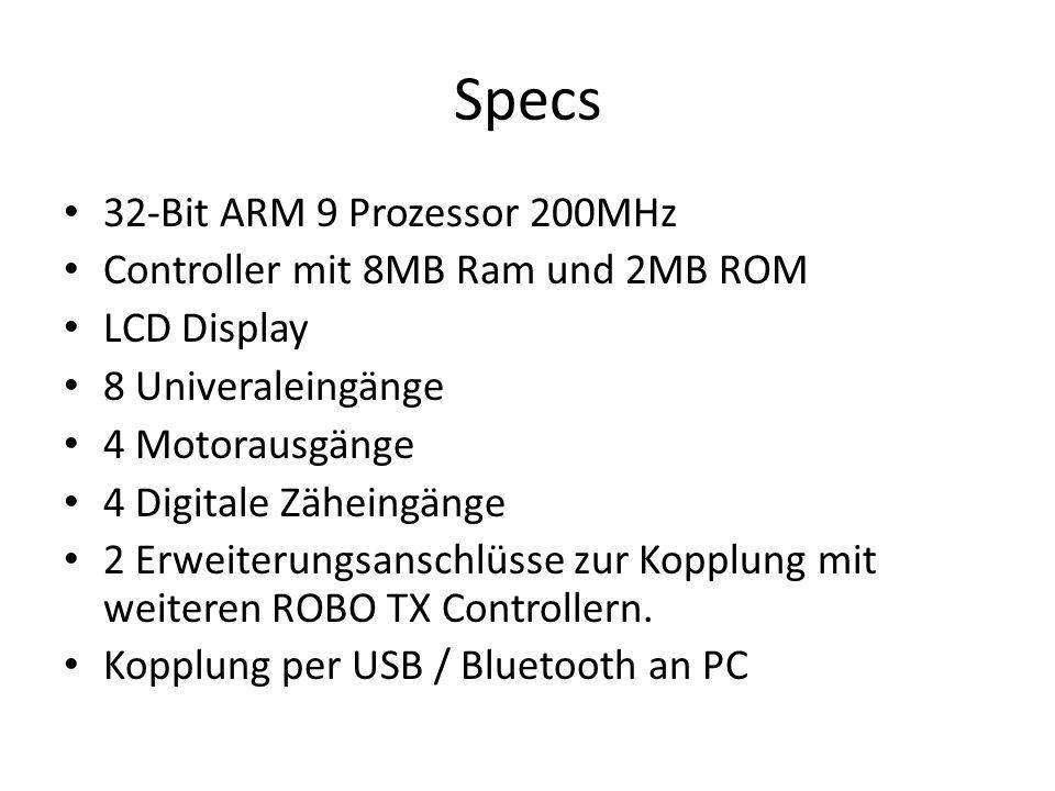 Specs 32-Bit ARM 9 Prozessor 200MHz Controller mit 8MB Ram und 2MB ROM LCD Display 8 Univeraleingänge 4 Motorausgänge 4 Digitale Zäheingänge 2 Erweite