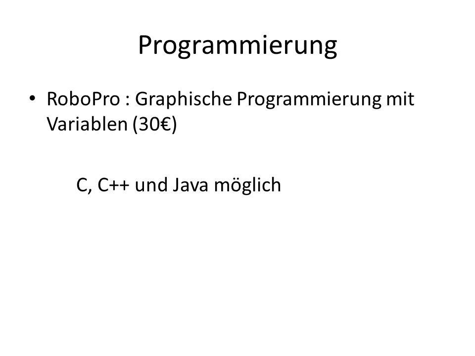 Programmierung RoboPro : Graphische Programmierung mit Variablen (30) C, C++ und Java möglich