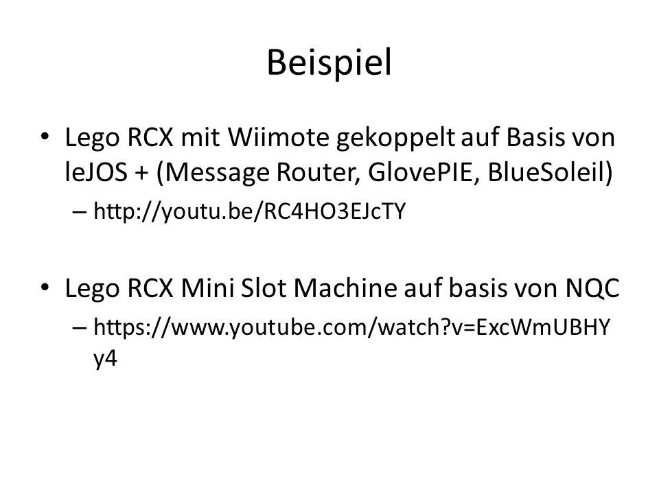 Beispiel Lego RCX mit Wiimote gekoppelt auf Basis von leJOS + (Message Router, GlovePIE, BlueSoleil) – http://youtu.be/RC4HO3EJcTY Lego RCX Mini Slot