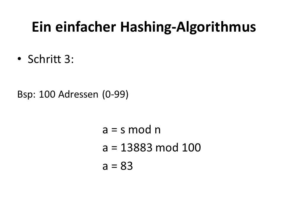 Ein einfacher Hashing-Algorithmus Schritt 3: Bsp: 100 Adressen (0-99) a = s mod n a = 13883 mod 100 a = 83