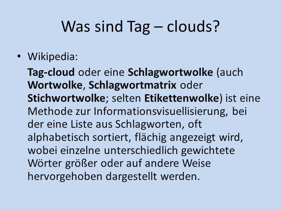 Wo werden die Tag-clouds häufig verwendet.