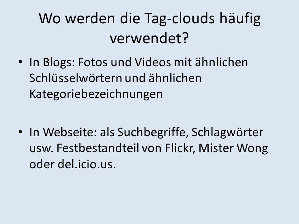 Anwendung Einstellung eines Tag-clouds für Blög: class= tag > (http://www.technologyevangelist.com/2006/03/how_t o_make_a_tag_cl.html)