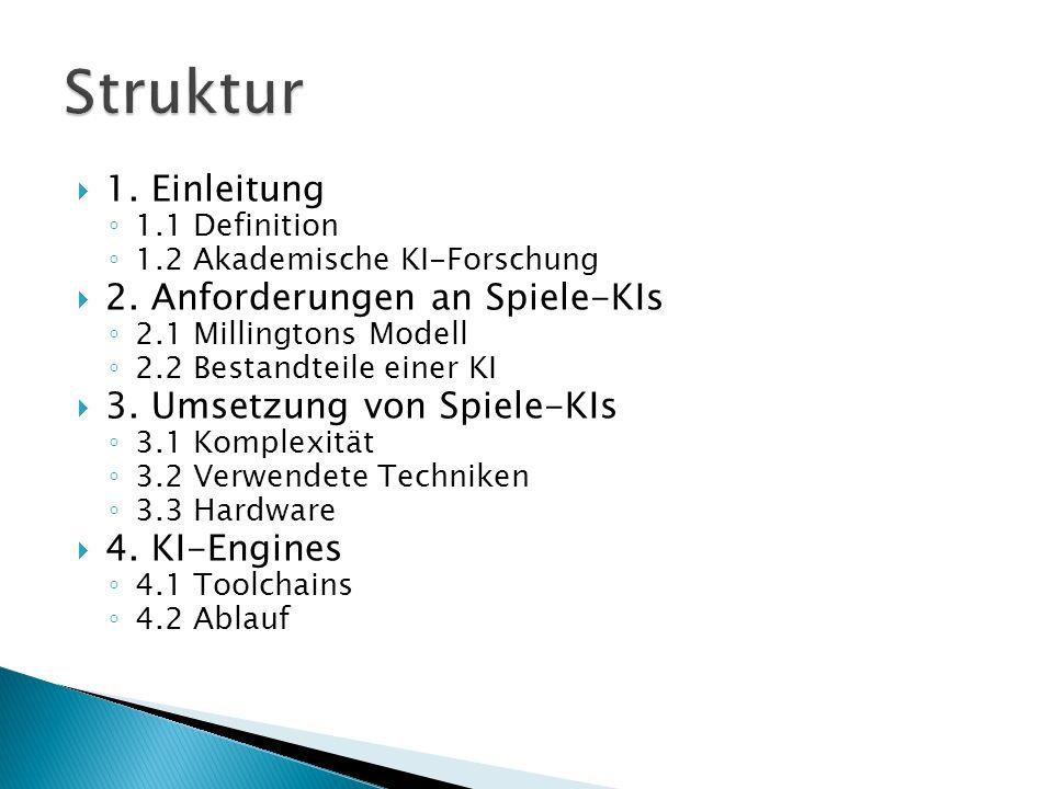 1. Einleitung 1.1 Definition 1.2 Akademische KI-Forschung 2. Anforderungen an Spiele-KIs 2.1 Millingtons Modell 2.2 Bestandteile einer KI 3. Umsetzung