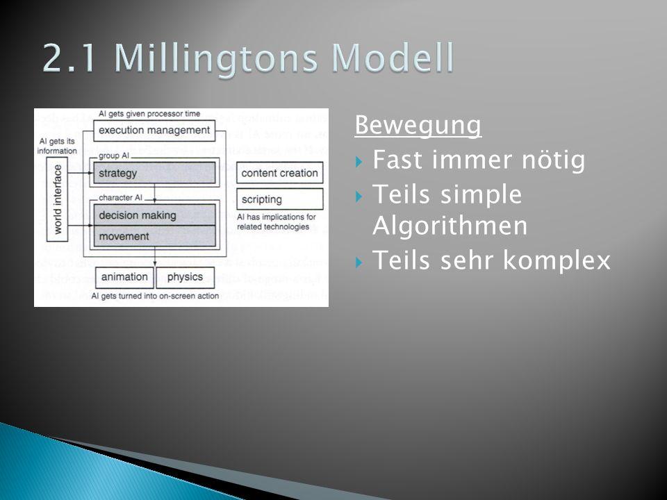 Bewegung Fast immer nötig Teils simple Algorithmen Teils sehr komplex