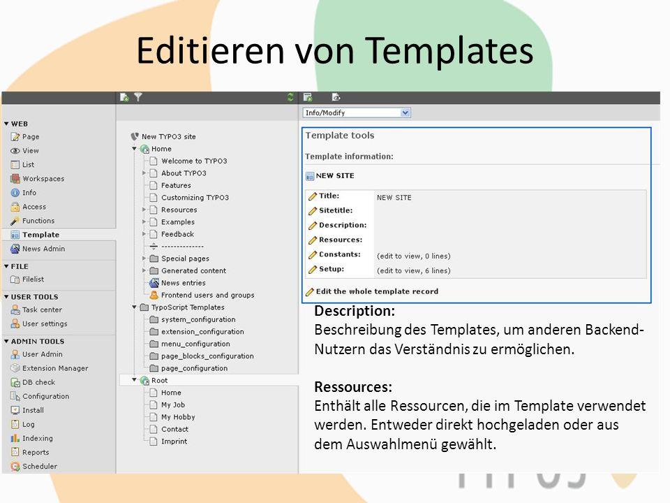 Editieren von Templates Constants: Definiert Konstanten für Setupfeld.
