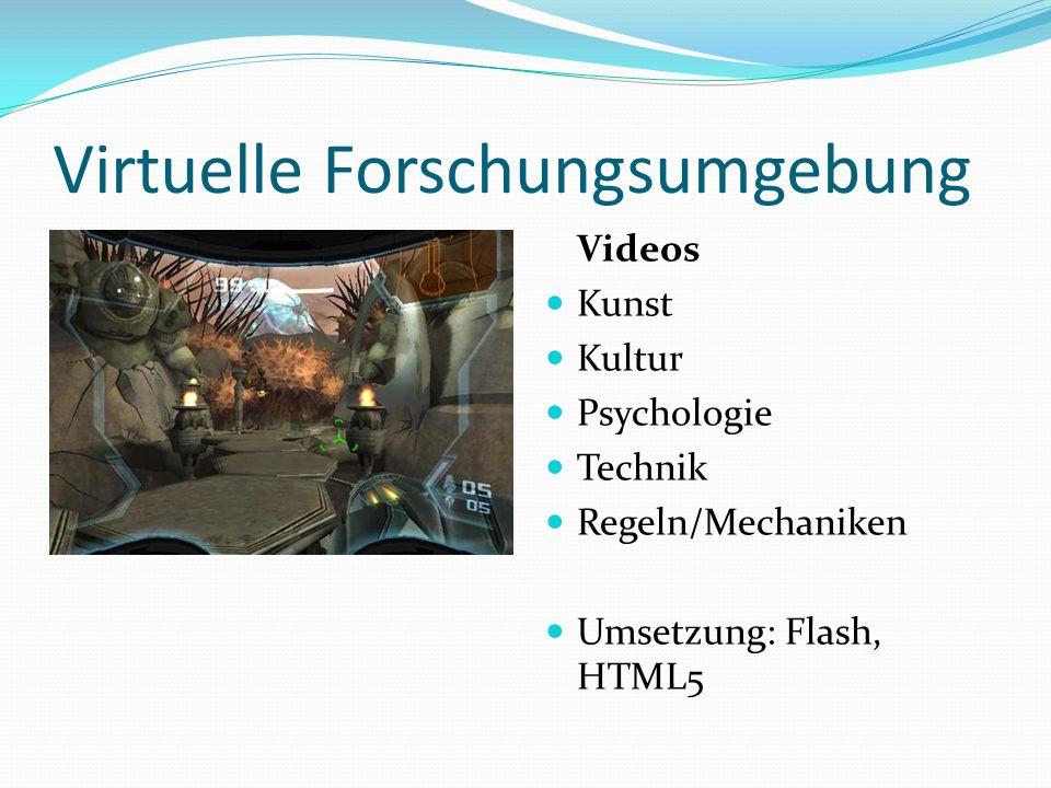 Virtuelle Forschungsumgebung Videos Kunst Kultur Psychologie Technik Regeln/Mechaniken Umsetzung: Flash, HTML5